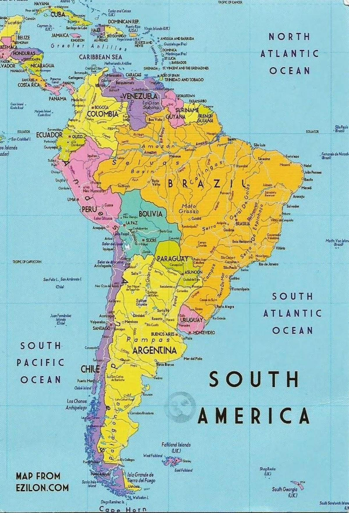 Guyana Juzna Amerika Mapa Mapa Guyana South America Juzna